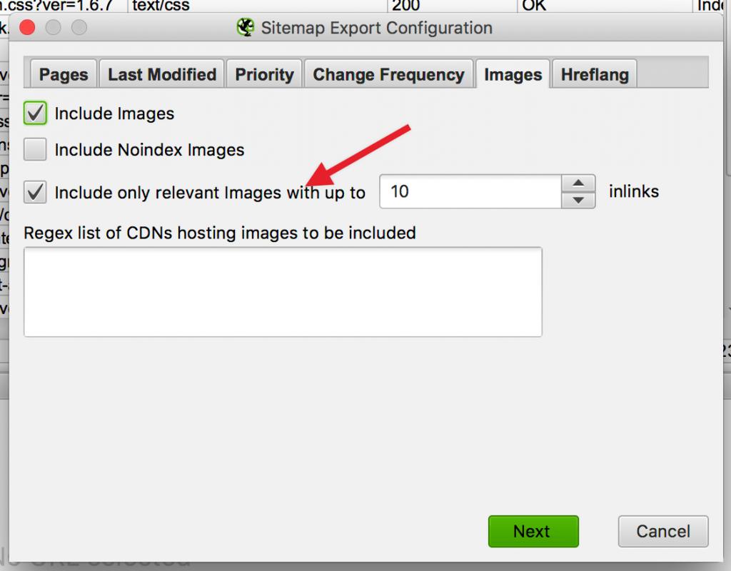 הוספת תמונות למפת xml באמצעות screaming frog